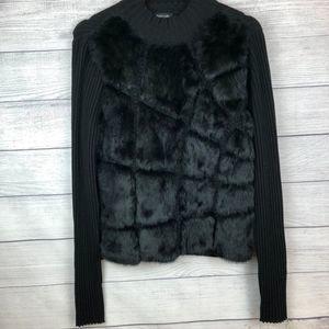 Dolce Cabo Rabbit Fur Mock Turtleneck Sweater Lrg